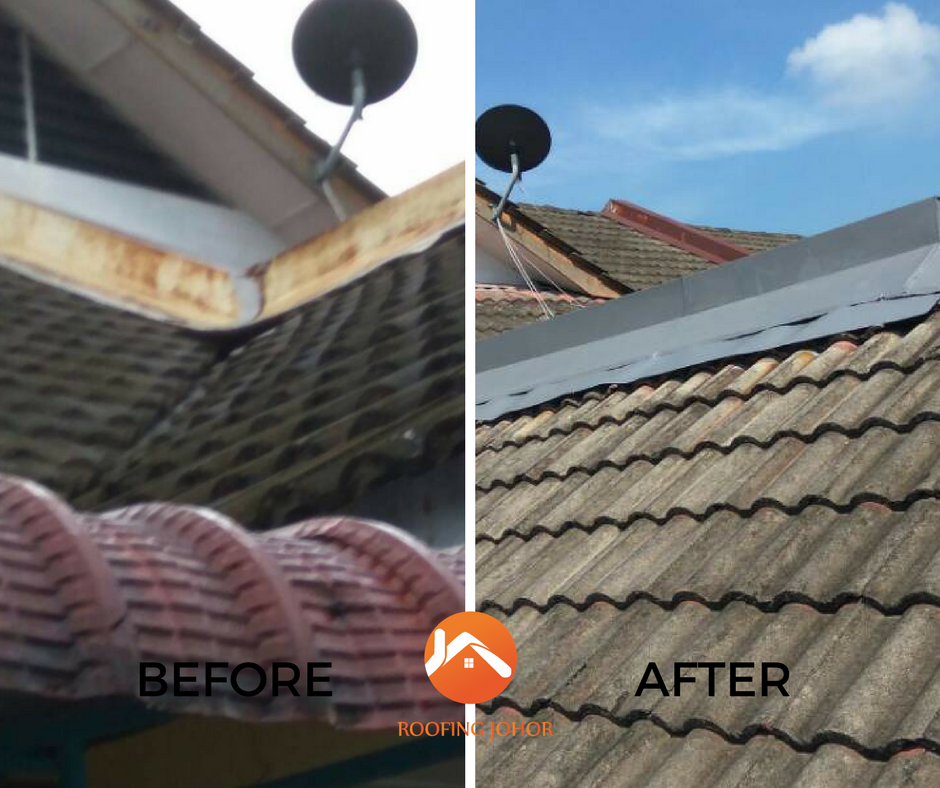 Perling Johor roofing services Before after